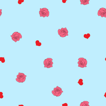 Seamless pattern red hearts and pink roses flowers on white background. Valentines day cute floral print, girly sweet motif for wall paper or fabric cloth, vector design eps 10 Иллюстрация