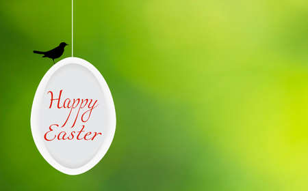 Happy Easter greeting card. Spring festive wallpaper on green blurry background. Decorative white egg, red invitation text and black bird silhouette. April celebration banner .