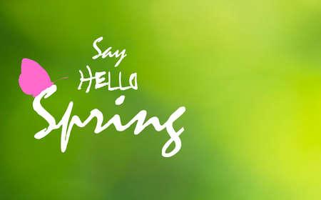 Dì Hello Spring testo e farfalla rosa su sfondo verde sfocato. Cartolina d'auguri luminosa di primavera con la siluetta dell'icona di insetto volante. Carta da parati floreale di aprile, disegno vettoriale eps 10