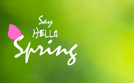 Say Hello Spring text and pink butterfly on green blurry background. Springtime bright greeting card with flying insect icon silhouette. Floral april wallpaper, vector design eps 10
