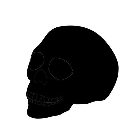 Black human skull isolated on white background. Spooky pirate head bone, scary evil cartoon dead face. 向量圖像