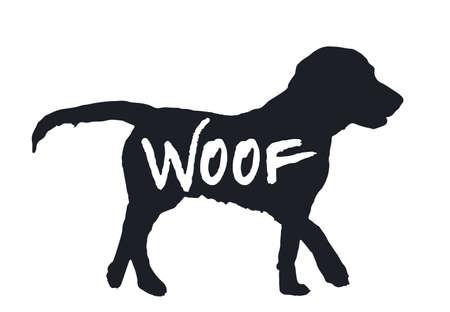 Hund Wuff Zitat schwarze Silhouette auf weißem Hintergrund. Schönes gezeichnetes Tierprofil. Einfaches Grafikdesign für Zoohaustierladen, lustiges Hundehund-Charaktersymbol.