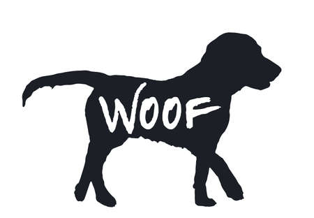 Dog Woof quote black silhouette isolated on white background. Lovely drawn animal profile. Simple graphic design for zoo pets shop, funny puppy hound character icon.