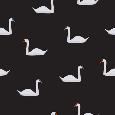 Seamless pattern white swan isolated on black background. Cute animal print, girly sweet motif for fabric textile cloth or wall paper, vector design eps 10