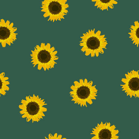 Seamless pattern yellow Sunflowers on green background. Sun flowers kids print. Floral bright backdrop for fabric textile, wallpaper, banner. Cute fashion baby girls motif. Vector texture eps 10 Иллюстрация