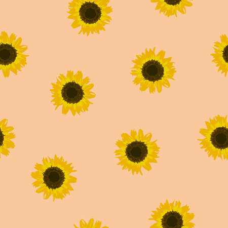 Seamless pattern yellow Sunflower on beige background. Sun flowers kids print. Floral pastel color backdrop for fabric textile, wallpaper, banner. Cute fashion baby girls motif. Vector texture eps 10 Фото со стока - 125363987