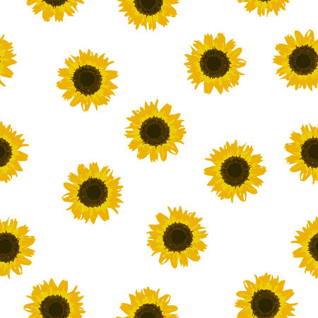 Seamless pattern yellow Sunflowers isolated on white background. Simple small sun flowers print. Floral bright backdrop for fabric textile, wallpaper, banner, scrapbook. Vector texture eps 10