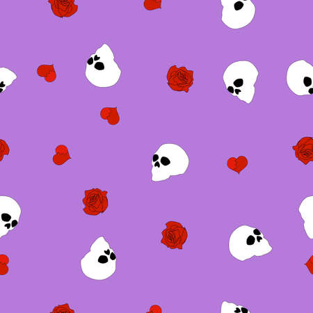 Seamless pattern white human skull, red broken hearts, roses on purple background. Spooky head bone print, cute cartoon dead face wallpaper. Valentines day girly fashion texture, vector eps 10
