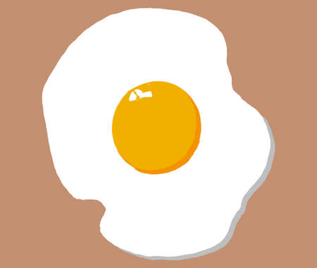 Fried egg isolated on beige background. Simple icon cooking frying egg with yellow yolk. Drawn concept symbol of morning breakfast, diner food recipe ingredient vector eps 10