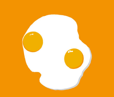 Fried eggs isolated on orange background. Simple icon cooking frying egg with yellow yolk. Drawn concept symbol of morning breakfast, diner food recipe ingredient vector eps 10