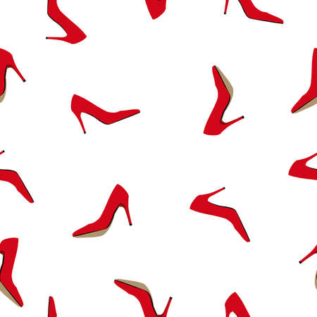 Seamless pattern women red high heels shoe isolated on white background. Lady footwear fashion print, vector eps 10