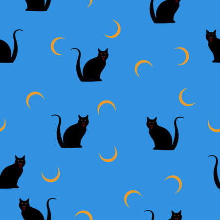 Seamless wild animals pattern Cats black silhouette, crescent on blue. Halloween paint cartoon print with feline, moon. Cute kid boo illustration for fabric textile or wall paper, vector eps 10