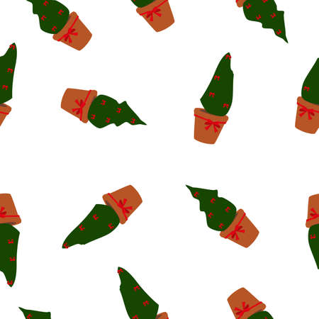 Seamless pattern Christmas trees in pots decorated with red bows isolated on white background. Fir potted plants xmas holidays print, vector design eps 10