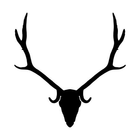 Deer skull with long horns isolated on white background. Animal head black silhouette icon 向量圖像
