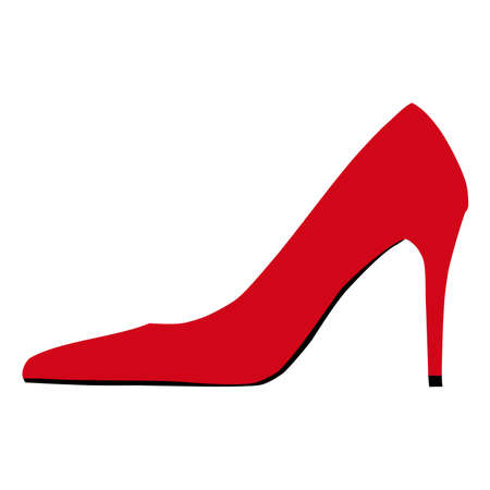 Red high heels shoe icon isolated on white background. Lady classic style footwear simple  イラスト・ベクター素材
