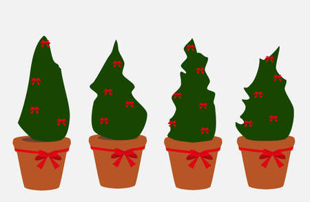 Set of Christmas trees in pots decorated with red bows isolated on white background. Simple drawn xmas plants icons Ilustração