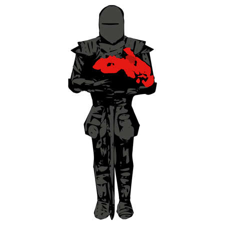 Romantic Knight dark silhouette in heavy metal armour on white background. Bouquet of red poppies flowers in warrior hands
