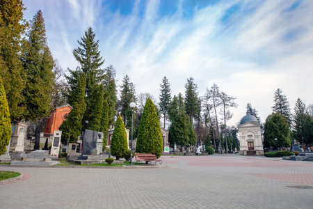 Ukraine, Lviv - 28 March 2020: Lychakiv Cemetery. Graves, monuments and crypts in old graveyard