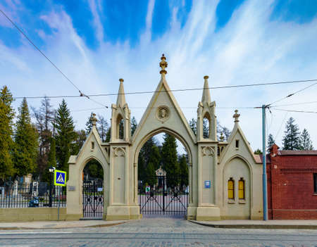 Ukraine, Lviv - 28 March 2020: Lychakiv Cemetery. Entrance gate to old graveyard