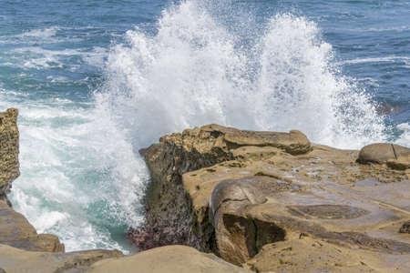crashing: Waves Crashing on Rocky Shore