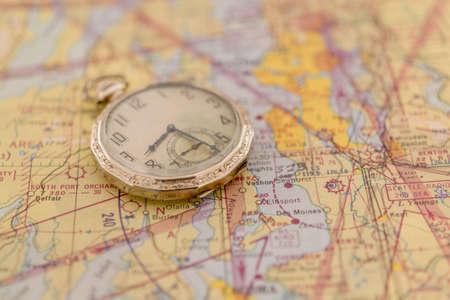 Antique Pocket Watch on 1950s Government Air Navigation Chart Stok Fotoğraf