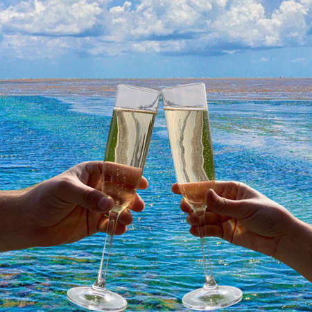 Couple toasting champagne while aboard a ship on the ocean Фото со стока