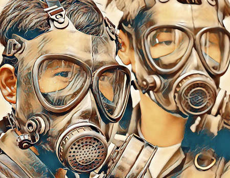 Illustration of two protesters wearing gas masks and goggles at a demonstration march