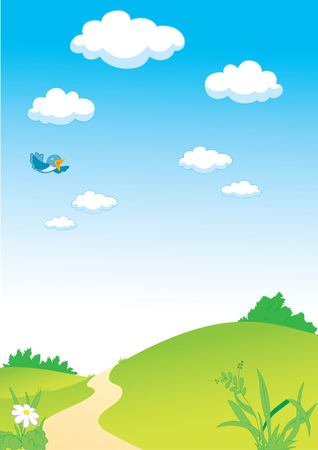 hillock: Country landscape with clouds and flying bird