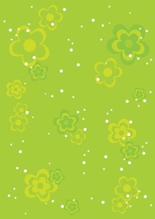 Green abstract background with flowers and chaos dots