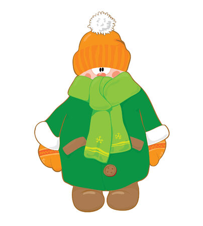 warmly: Little boy in winter green fur and orange cap