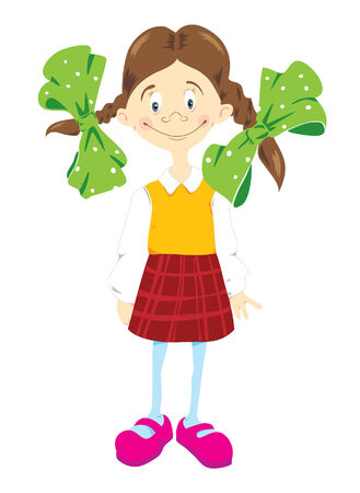 kiddy: Little girl in chequered skirt and green bows Illustration