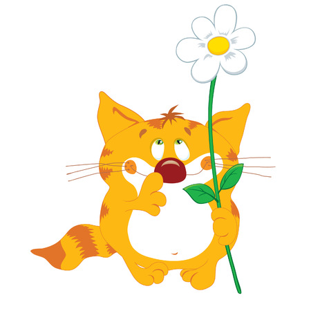 lookup: Red cat with flower and look up Illustration