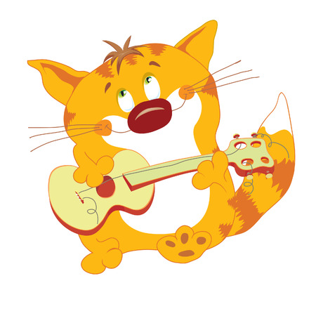 Red cat with guitar stand and play Stock Vector - 2784472