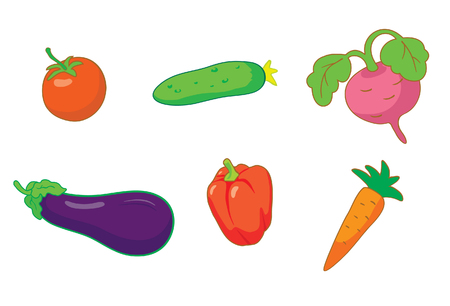 Summer vegetables icon set Vector