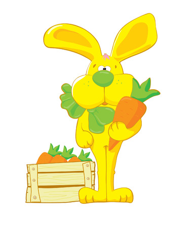 Queer yellow hare with carrot Stock Vector - 2784465