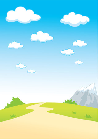 Summer landscape with clouds and mountain Illustration