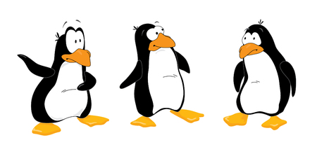 north pole: Three funny penguins look out