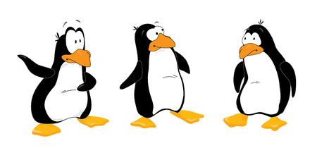 gla�on: Trois pingouins amusants � regarder