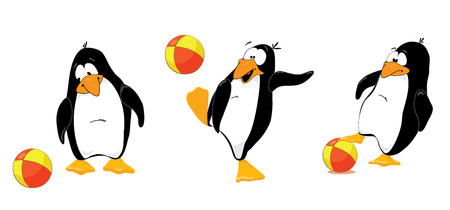Three penguins playing wtih ball
