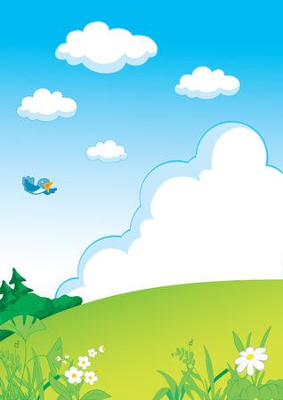 Landscape with grass, forest and clouds Illusztráció