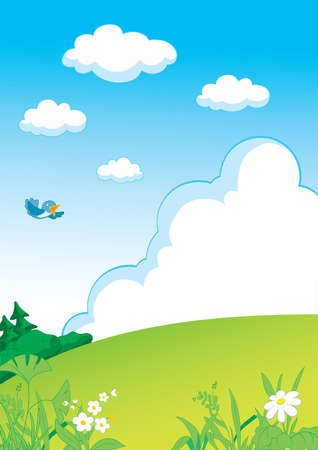 crisp: Landscape with grass, forest and clouds Illustration
