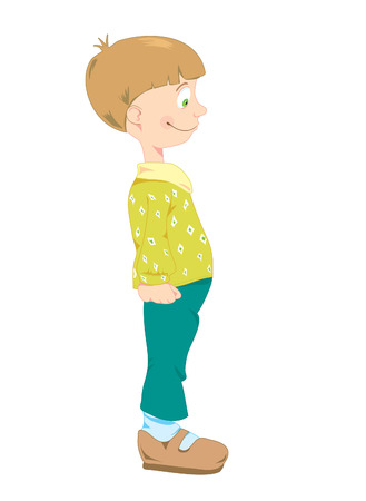 Little boy in green trousers and t-shirt with rombs