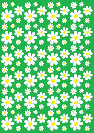 Green background with chamomile pattern Vector