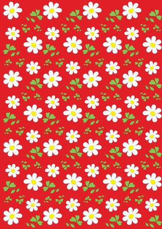 Red background with chamomile pattern Vector