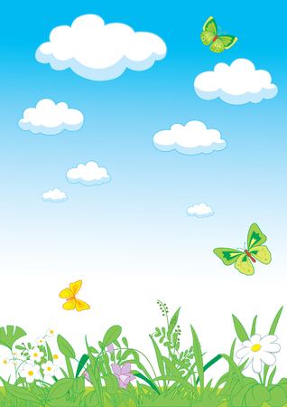 Summer landscape with grass,  sky and clouds Illustration