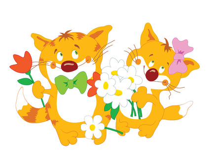Funny cats couple with flowers Vector