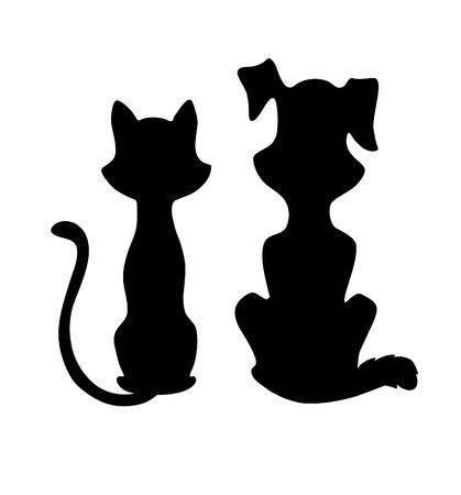 silueta gato: Gato y perro silueta