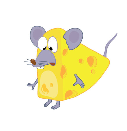Funny mouse in cheese Stock Vector - 2988492