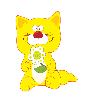 Yellow cat with flower Stock Vector - 2988493
