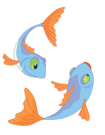 Two fishes series I Vector
